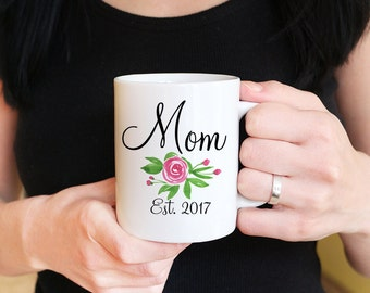New Mom Mug - Mommy to Be Mug Floral Mug - Mommy Mug Mom to Be - Baby Shower Gift Pregnancy Announcement Watercolor Mug - Mommy to be Gift