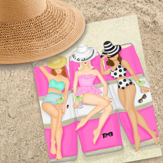 Margaritas and manicures print of original beach themed illustration, summer art beach art, margarita lover girly art beach babe print