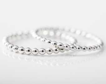 Sterling Silver Ball Ring Stacking Ring Delicate Dainty Ball Bubble 1.5 or 2mm Sterling Silver Beaded Ring