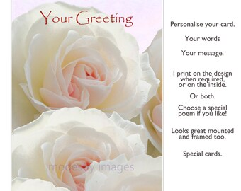Roses card, Flower card,  Birthday Card, Greeting Card, Anniversary Card, Hand Made Card, Wedding Card ,blank card, personalised card,