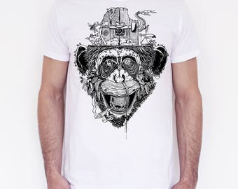 T-shirt unisex handprinted Giungla Urbana white edition