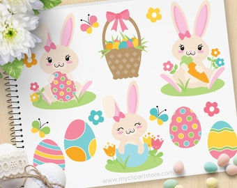 Easter Bunny Clipart, Girl bunny, Pink, Spring Flowers, Easter eggs basket, Easter egg hunt - Commercial Use, Vector clip art, SVG Cut Files
