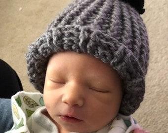 Crochet Baby Beanie, Baby Hat with Pom Pom, Crochet Hat, Baby Beanie