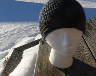 Crochet Handmade Soft Blue Brown Beanie Hat