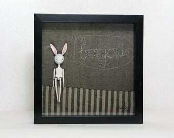 Shadow Box Art Doll - Original 3D Mixed Media Art, Rabbit Person, Embroidery Bonjour, Wall Art, 10x10
