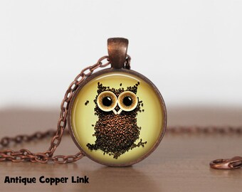 Coffee Beans Owl Necklace Coffee Pendant Necklace or Coffee Keyring Coffee Jewelry Java