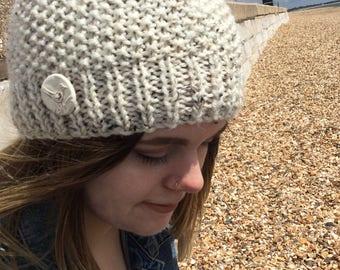 READY KNIT  Pebbles beanie - chunky/bulky yarn - alpaca rich yarn - adult medium- ceramic bird button