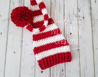 Christmas Elf Hat, Christmas Photo Prop, Newborn Elf Hat, Santa Hat, Baby Elf Hat, Red and White Striped Hat, Sleepy Cap, MADE 2 ORDER