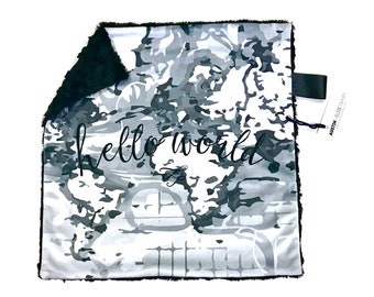 Hello World Monochrome Minky Baby Blanket, Gender Neutral Black White Grey Minky Baby Blanket, World Map Baby Boy Blanket, Baby Shower Gift