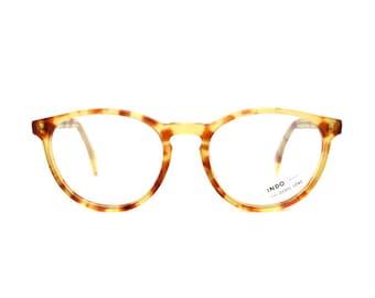 light brown tortoise cateye glasses - transparent vintage eyeglasses frames - original 1980s cat eye model in 50s style - catherine pastel