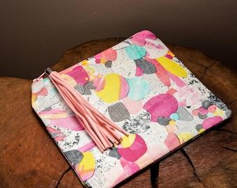 Small Clutch, Laura Blythman, Bohemian, Fabric Purse, Boho, Kapow, Coin Purse, Fashion, Accessory, Pop Art, Watercolour, Water Colour, Cute
