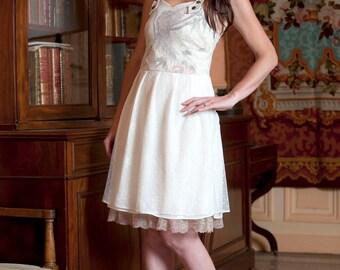 Short off-white dress, Alternative wedding dress, Bird print and mesh dress, Bare back dress, MALAM