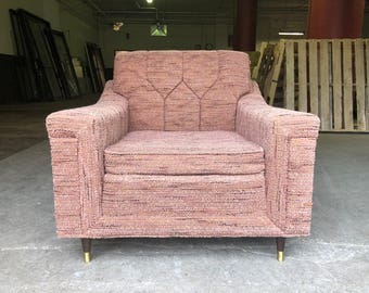 Mid Century Modern Vintage Bohemian Pink Mauve Lounge Chair Flexsteel Slipper Chair Corner Chair