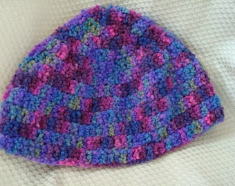 Soft,  Vibrant All Wool Youth Hat - Colorful, Hand-Dyed -  Grapevine 23A