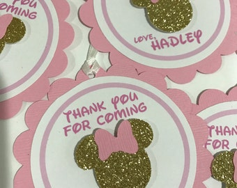 Minnie Mouse Inspired Favor Tags Pink and Gold set of 12