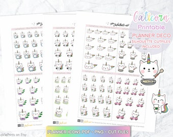 Caticorn planner stickers, Printable Planner Stickers, Coffee stickers, Kawaii Planner stickers, Cook time stickers, bills stickers, ECLP