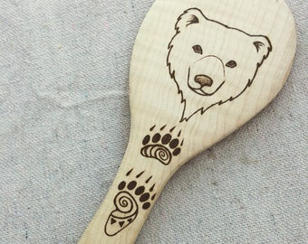 Bear with Paw Prints Rice Mixer on Maple Wood