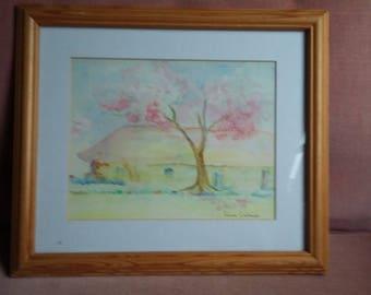 Original Watercolour 'Hayesland in Summer' Pink Tree Barn