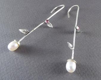 Dangle Earrings - Pearl/ Pink Tourmaline