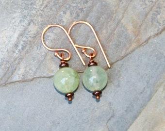 Prehnite Earrings, Natural Stone Earrings, Light Green Earrings, Copper Earrings, Handmade Earrings, Gemstone Earrings, Everyday Earrings
