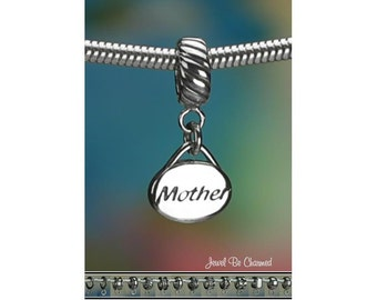 Sterling Silver Oval Mother Charm or European Style Charm Bracelet 925
