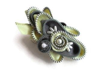 Jewelry Zipper Brooch Statement Pin Corsage Millinery Sash Embellishment Seen At Martha Stewart Wedding Party Handmade by handcraftusa