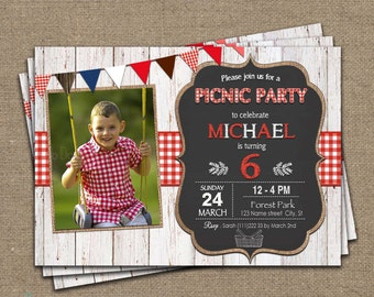 Picnic Birthday Invitation, picnic invitation, Picnic Party Invitation, Picnic Birthday Party Invitation, Printable Picnic Birthday, photo