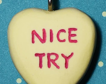Valentine Jewelry - Candy Heart Creepy Cute Valentine   Necklace  - Nice Try- Yellow