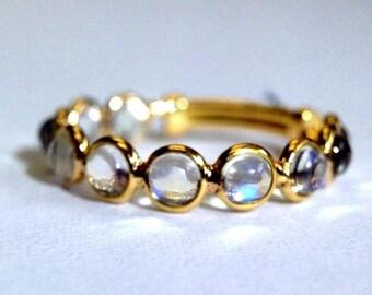 18K Yellow Gold Blue Moonstone Size Adjust 6-9 Semi Eternity Band Ring