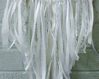 Lace ribbon bunting,garland,banner,wall hanging,wall art,Photo backdrop,party decoration,shabby chic,Bohemian,rustic,cake smash,white,cream