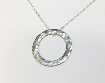 Silver Circle Necklace, Karma Necklace, Circle Of Life
