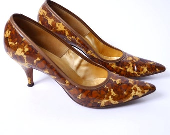 50s Pointed Toe Pumps Calico Watercolor Patent Leather Gold Yellow Brown 8// 96