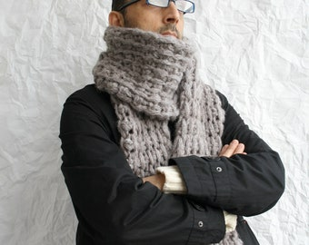 Milky Brown Wool Big Extra Long Scarf / Perfect Knitted Gift For Men Dady BoyFriend Fathers Day