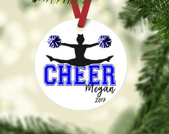 Cheerleader ornament, Cheer ornament, Cheerleader Christmas ornament, personalized ornament, Cheer team gift, Custom Color option