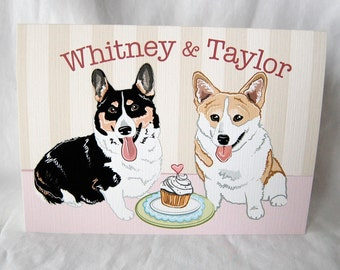 Corgis in Love Greeting Card - Customized with Your Names