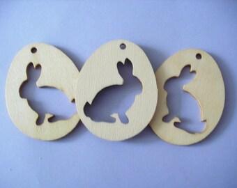 3 eggs with bunny, wood, 7 x 5.5 cm (07-0001A)