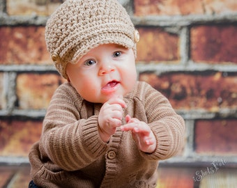 Baby boy newsboy hat, Hat for baby boy, cotton beanie for boy, photo prop, baby shower gift, jute cotton, newsboy hat with wooden buttons