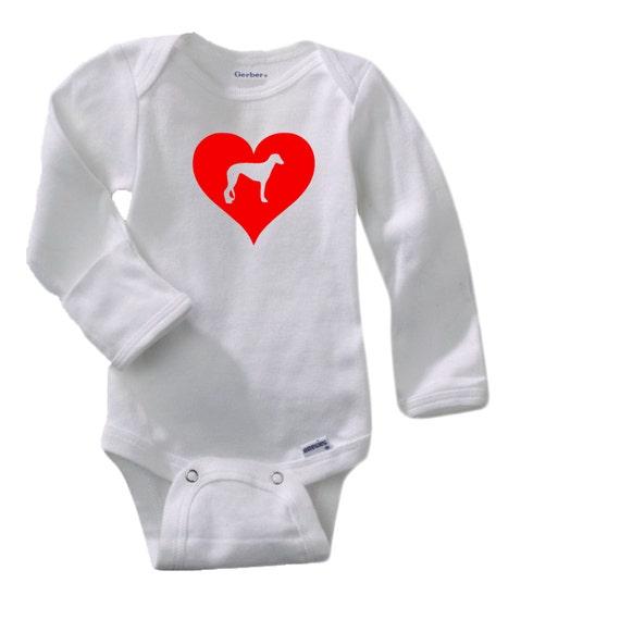 Love Heart Greyhound Gerber® Long Sleeve Onesie®. Baby Shower