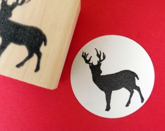 Buck Deer Silhouette Rubber Stamp // Forest Animal Rubber Stamp - Handmade by Blossom Stamps