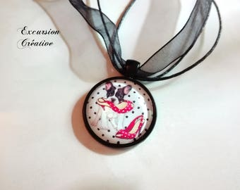 Necklace pendant dog and pinup style red heels shoes