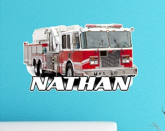 Personalized Fire Truck Decal Peel and Stick Repositionable Removable Nursery Wall Sticker