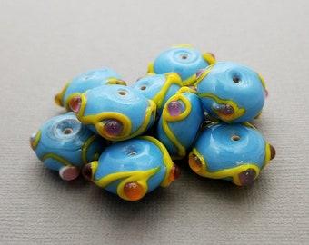 Blue, Yellow Lampwork Glass Beads | Set of 10 Beads