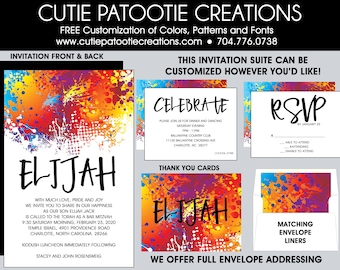 Paintball Bar Mitzvah Invitations - Painting Pain Art Themed Bar and Bat Mitzvah Invitation - Custom Colors Available - Envelope Addressing