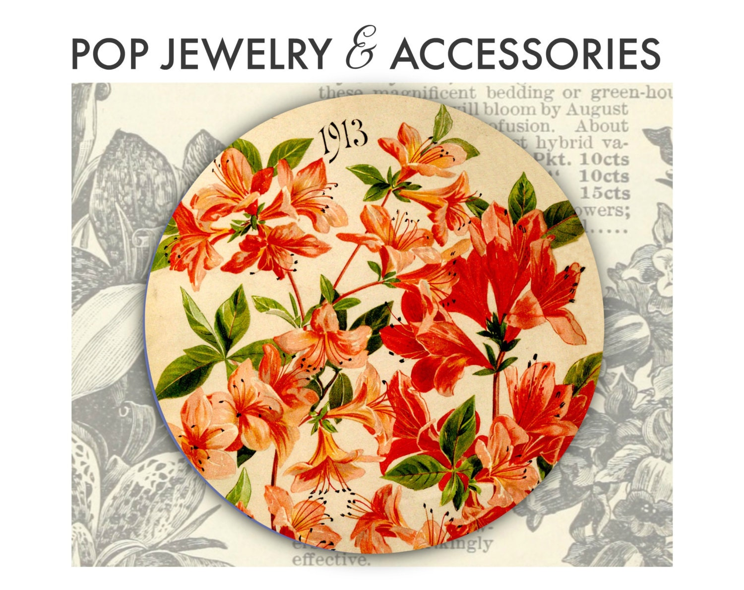 Vintage lily button from 1913 seed catalog fun pop jewelry for any gallery photo gallery photo gallery photo izmirmasajfo