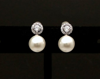 Bridal Jewelry wedding earrings bridesmaid prom party gift christmas 8mm swarovski white or cream pearl round cubic zirconia post earrings