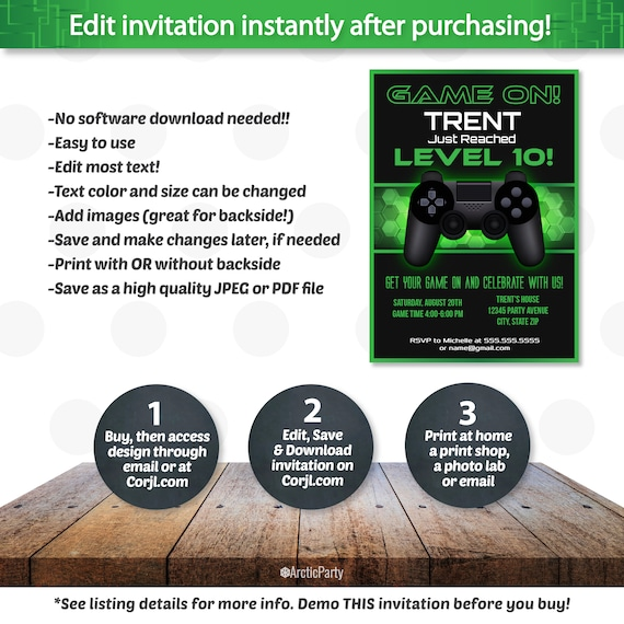 Video Game Party Invitations Video Game Invitation Video