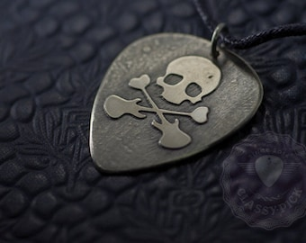 Skull guitar pick necklace  Guitar gifts for music lovers Rustic pick. Guitar Pick.  Men jewelry. Gift for him.  Music lover. Men gift ideas