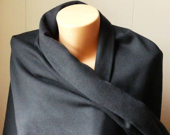 """Black woven cotton and wool blend fabric - 59"""" wide - BTY"""