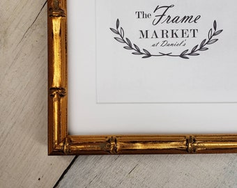 Lucky Bamboo Gold Wood Picture Frame with White Mat 8x10, 9x12, 11x14, 14x16, 16x20 Standard and custom sizes available.