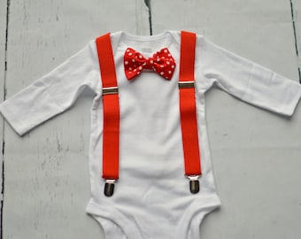 Baby Boy Red Christmas Outfit - Bodysuit - Red Polka Dot Bow Tie - Red Suspenders - Baby Bow Tie - Baby Suspenders - Christmas Bodysuit
